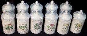 Group Of 11 Apothecary Jar W Floral Motif