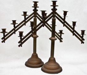 Pr. Industrial Style Brass Prickets, 7 Light