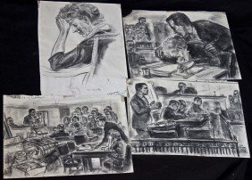 4 Court Room Sketches By Freda Reiter