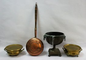 (4) Pieces 19th C Antique Brass & Copper Ware