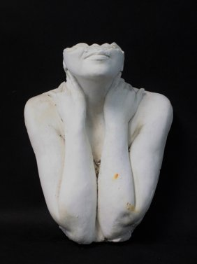 Vintage Brutalist 'faceless' Female Bust Sculpture