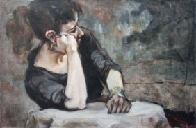 Judith Roth Chicago 20th C Oil Painting Of A Woman