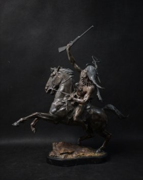 William Marotta Bronze Apache Warrior On Horseback