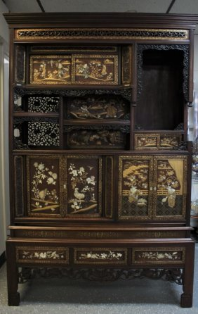 19thc Qing Japanese Etagere W/mother Of Pearl Inlay