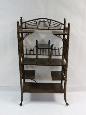 19th C Antique English Victorian Bamboo Etagere