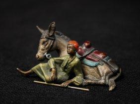 Antique Vienna Cold Painted Bronze Arab & Mule
