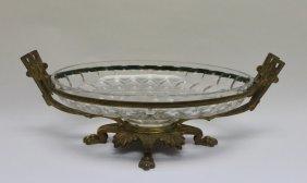 19 C French Empire Bronze & Glass Centerpiece Bowl