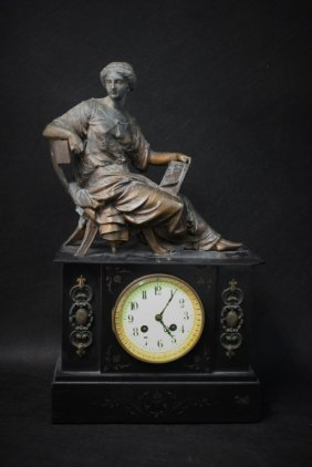 19thc French Empire Style Slate & Cast Metal Clock