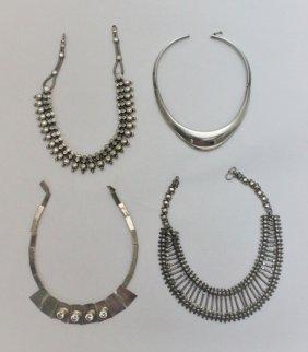 (4) Vintage Sterling Silver Choker Necklaces