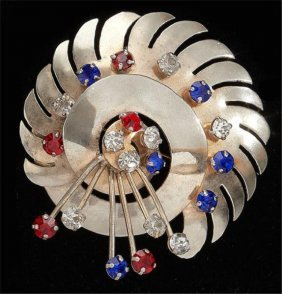 Sterling Brooch With Red, White And Blue