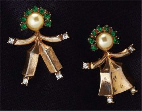 Trifari Brooch Pair