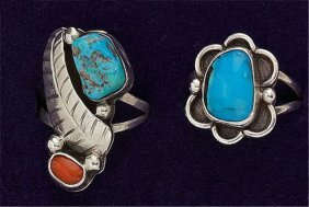 Turquoise And Coral Rings, Pair