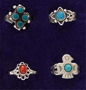 Four Turquoise And Coral Rings
