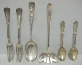 SIX AMERICAN STERLING SILVER FLATWARE PIECES