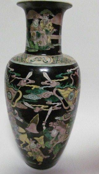 chinese famille noir vase lot 600. Black Bedroom Furniture Sets. Home Design Ideas