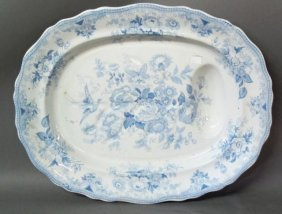 19TH C. BLUE & WHITE TRANSFER PRINT PLATTER:
