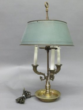 ANTIQUE ENGLISH TOLE BOUILLOTTE LAMP: