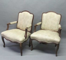 PAIR CARVED ARM CHAIRS: