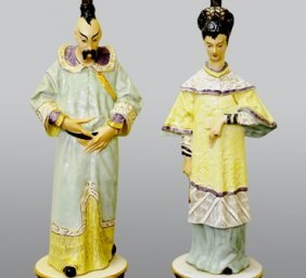 A PAIR OF CHINESE MID CENTURY FIGURAL LAMPS: