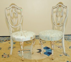 PAIR ITALIAN PAINTED & GILT SIDE CHAIRS, 20TH C.: