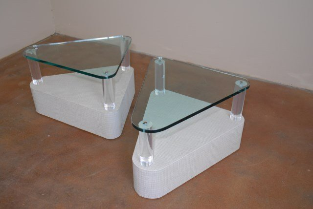 PAIR LUCITE AND GLASS SIDE TABLES W RAFFIA BASES Lot 225