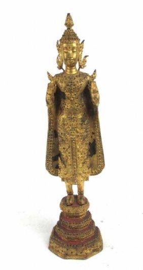 Gilt Metal Thai Figure Of A Buddha