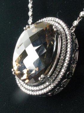 Diamond & Smoky Quartz Pendant