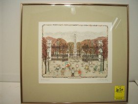 Cuca Romley Hand Colored Etching 'Jardins Des  ...