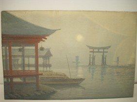 S. Tosuke Watercolor Of Moonlit Fishing Boat