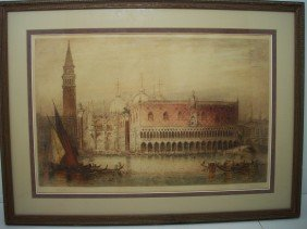 James Alphege Brewer Etching 'Venice'