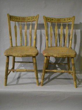 Pr Of Mustard Ptd Arrowback Windsor Side Chairs Or