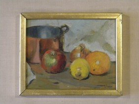 "Oil On Board Still Life Signed ""Stabbe"" Painting S"