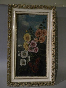 "Victorian Oil On Panel, 25 1/2 X 12 3/4"" Frame"
