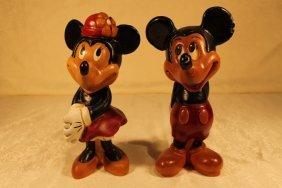 Minnie & Mickey Wood Sculptures
