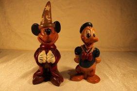 2 Disney Wood Sculptures