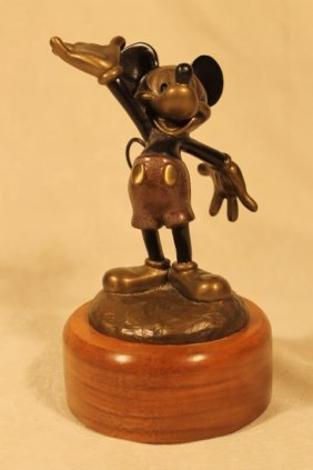 """Mickey Mouse Bronze On Wood Base 6"""" Tall"""