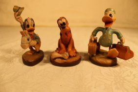 3 Anri Wood Sculptures Signed Ulrich Bernardi