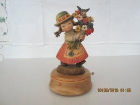 Vintage Anri Carved Flower Girl Music Box