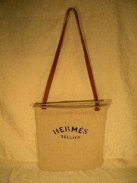Hermes Linen Shoulder Tote