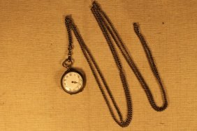Swiss Ladies Dterling Pocket Watch & Fob
