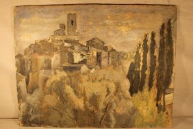 Mountain Top Village Scene Oil On Canvas, Signed