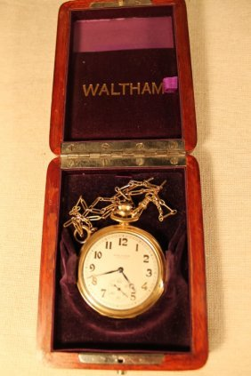 14 Kt Gold Waltham Pocket Watch & Fob
