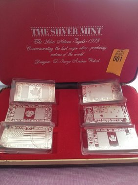 Silver Mint 1973 6 Piece .999 Silver Bars