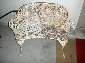 Estate Antique Cast Iron Outdoor Garden Bench