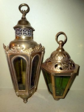 Two Brass And Glass Hanging Lanterns