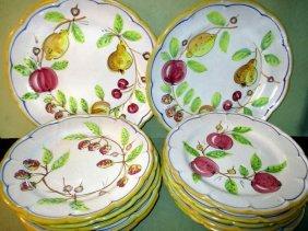 Set Of 10 Italian Faience Plates W/ Serving Plates
