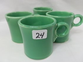 Homer Laughlin Medium Green Fiesta 4 Mugs- Hardest