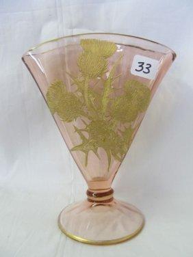 "Pink 7"" Fan Vase W/gold Encrusted Thistles. Fostori"