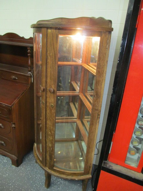 antique oak corner curio cabinet 1