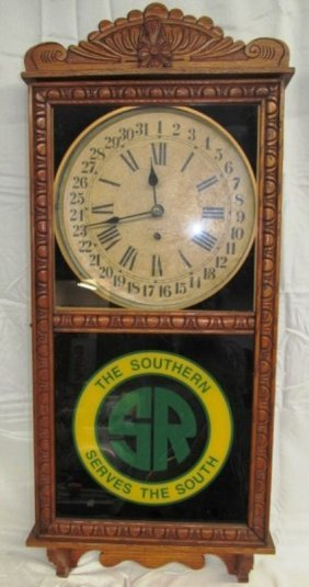 Vintage New Haven Clock Co. Carved Wood Wall Clock ~